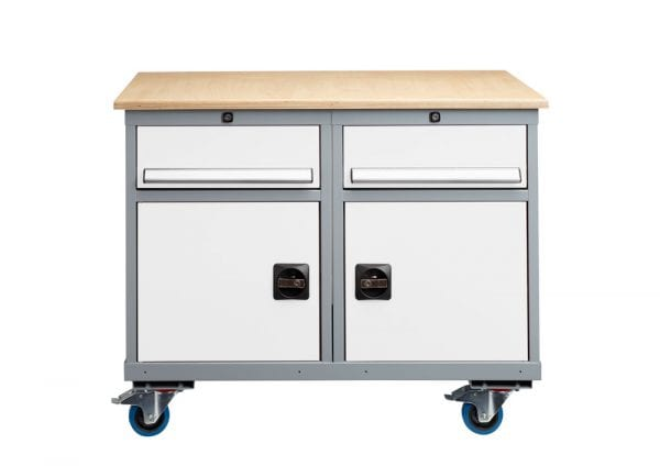 Signal White Premier Trolley – 2 x Single Drawer + 2 x Cabinet -1050x600x835 - James Bedford Industrial