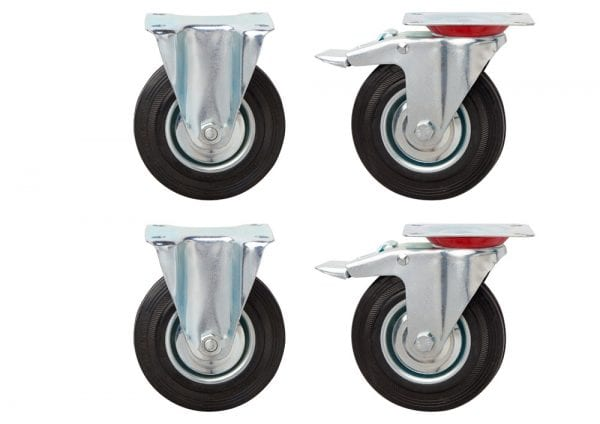 Hazardous Storage – Black Rubber Swivel Plate Castors – 125mm Diameter – Set of 4 - James Bedford Industrial